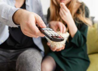 пульт, телевидение, попкорн, фильм, телевизор