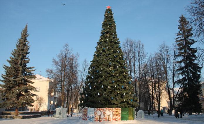 елка, ледовый городок,