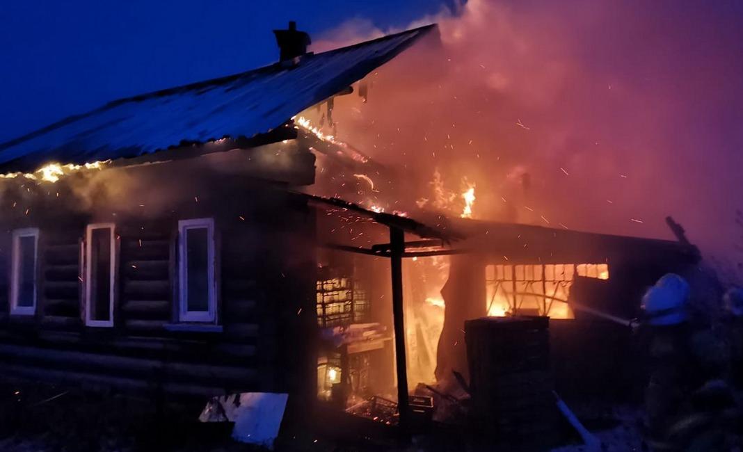 пожар, дом, Ёлкино