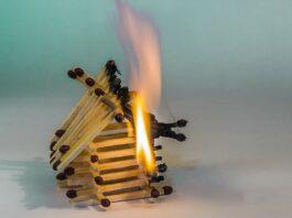пожар, дом, огонь, спички